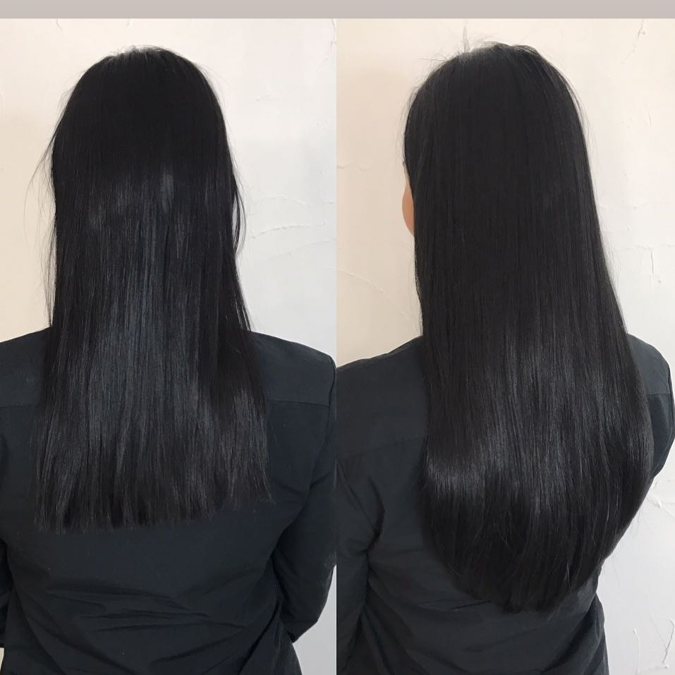 Before after hair extensions